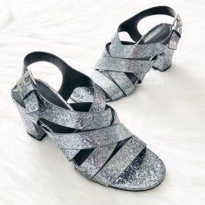 Zara Silver Glitter Strappy Heel Sandals 7